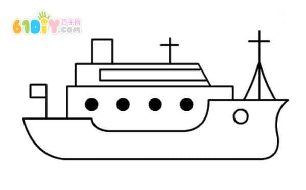 军舰简笔画步骤教程_交通工具简笔画_巧巧手幼儿手工网