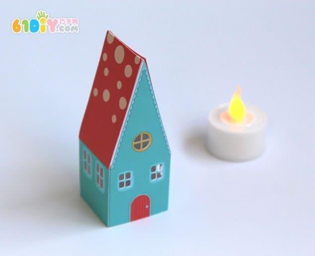 中秋节手工制作卡通小房子灯笼