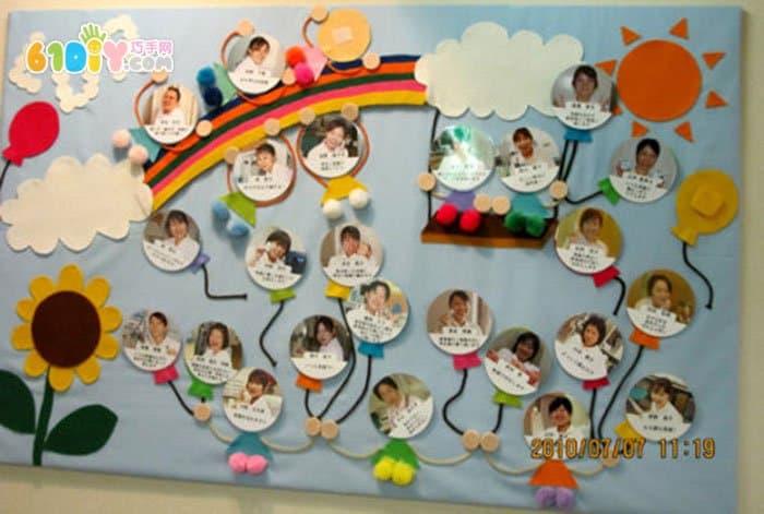 幼儿园教室照片墙墙面布置