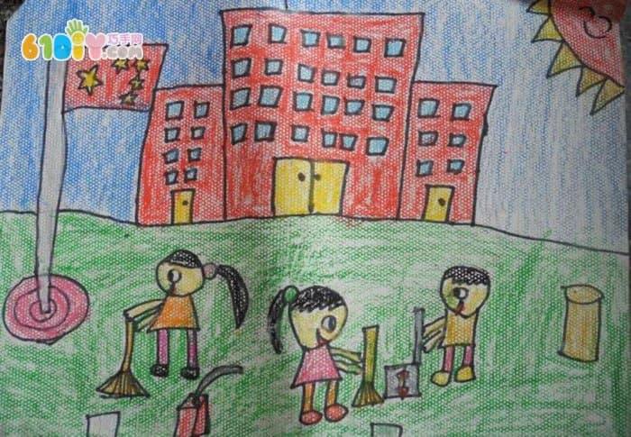 我们的学校儿童画作品图片