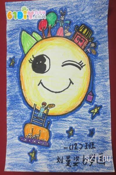 中秋节儿童画作品_快乐涂鸦_巧巧手幼儿手工网