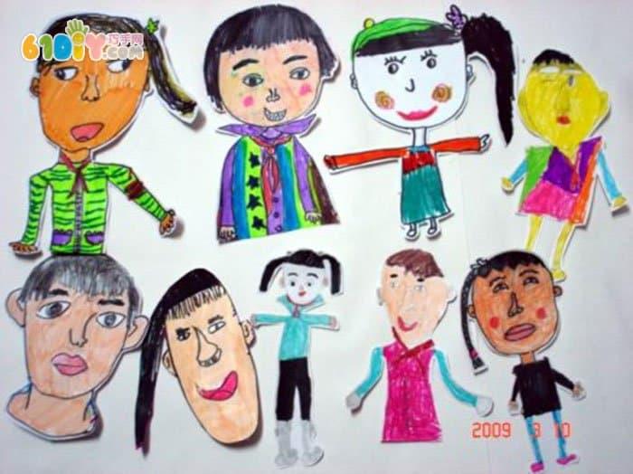 幼儿自画像作品图片_快乐涂鸦_巧巧手幼儿手工网