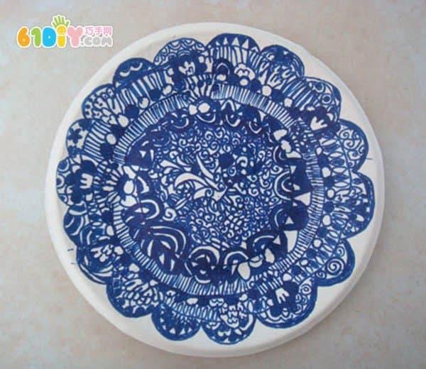 青花瓷纸盘画作品图片
