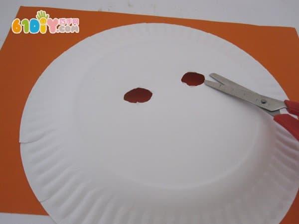纸盘手工制作 万圣节南瓜怪面具