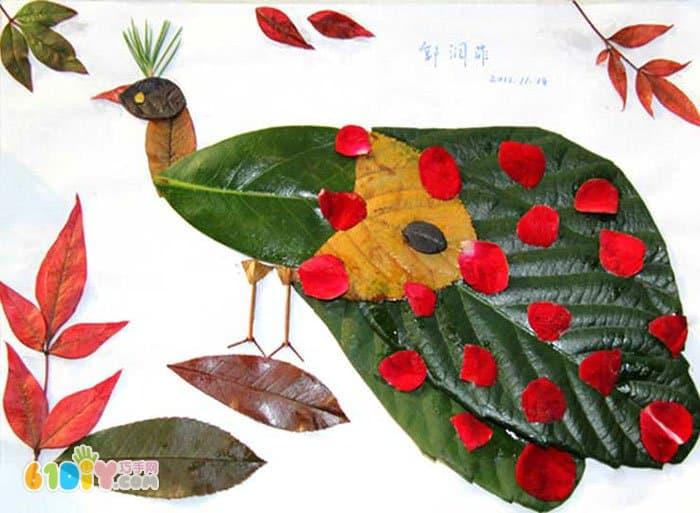 孔雀树叶贴画作品(2)