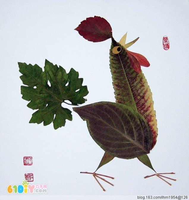 公鸡树叶贴画作品