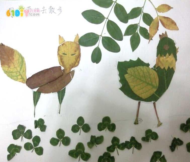 狐狸树叶贴画作品