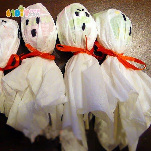 万圣节幼儿手工制作棒棒糖幽灵