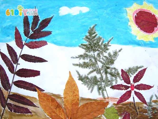秋天树叶贴画 美丽的湖景