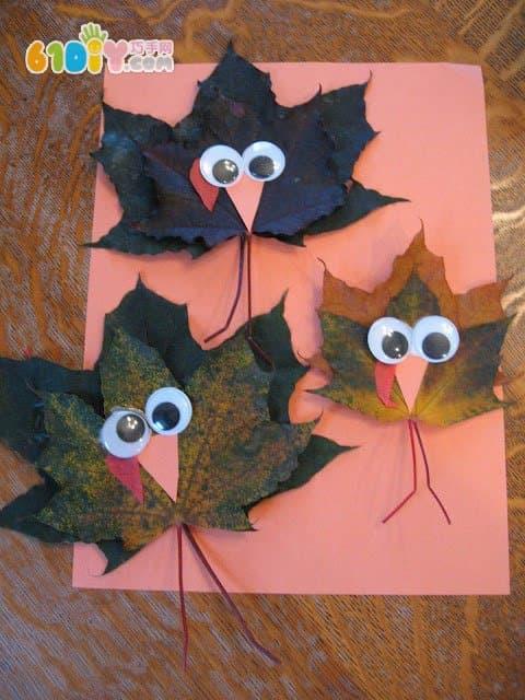 儿童剪纸贴画秋天-儿童秋天手工 用树叶制作火鸡