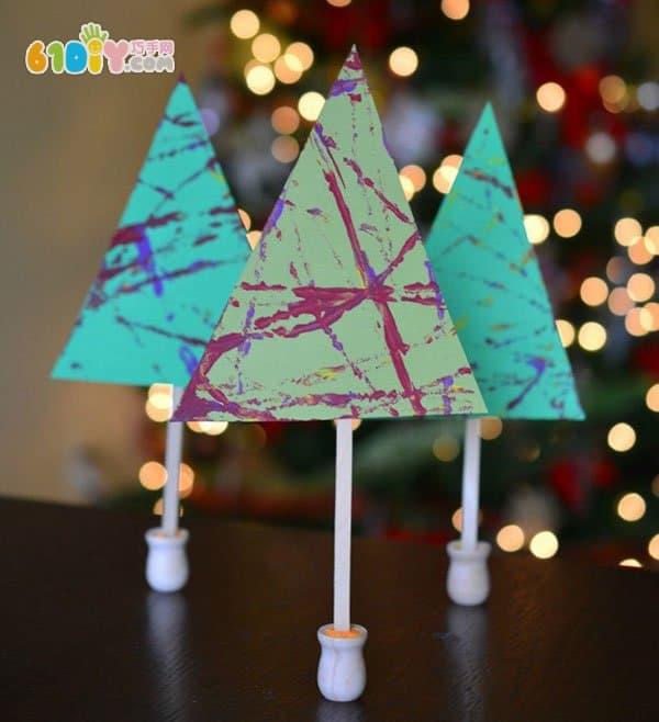 弹珠滚画手工 圣诞树制作