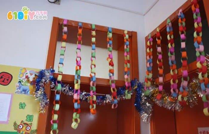 幼儿园新年拉花布置