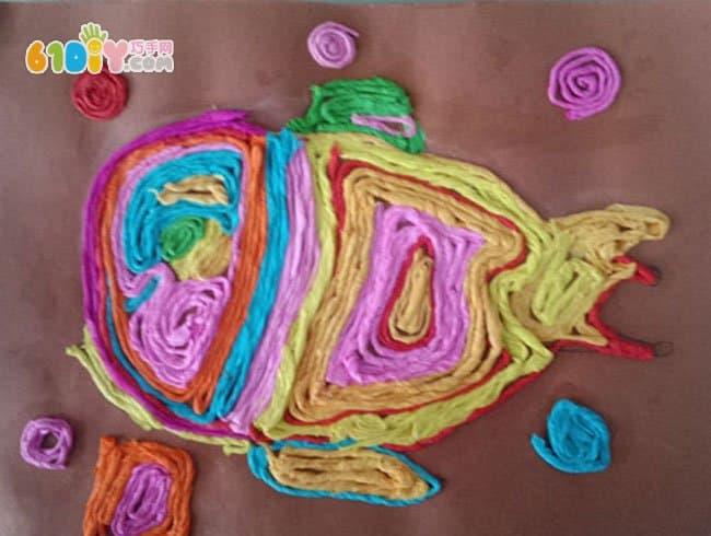 纸绳贴画作品 漂亮的小鱼_精彩贴画_巧巧手幼儿手工网