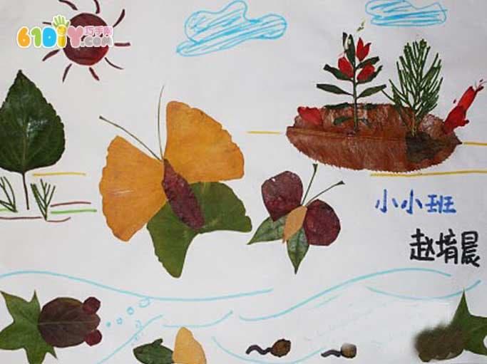 蝴蝶树叶贴画作品图片(3)