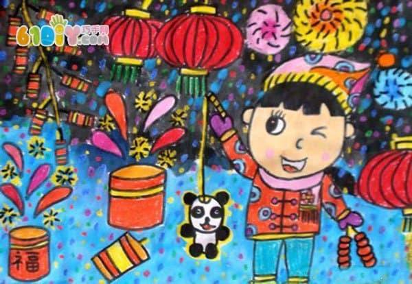 儿童新年画作品 放烟花鞭炮图片