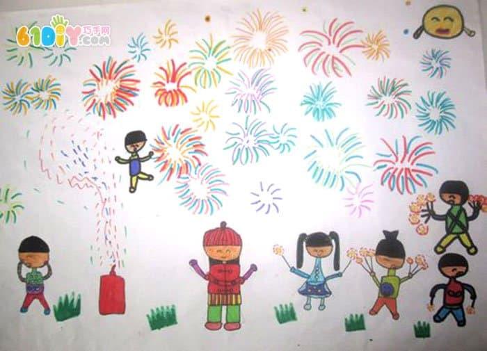 儿童新年画作品 放烟花鞭炮