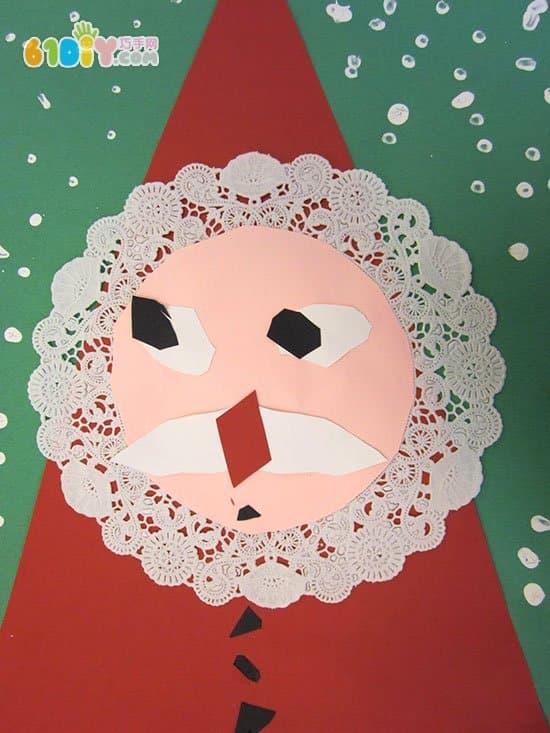 可爱的圣诞老人贴画手工