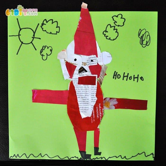 幼儿撕纸贴画:用废纸制作圣诞老人贴画