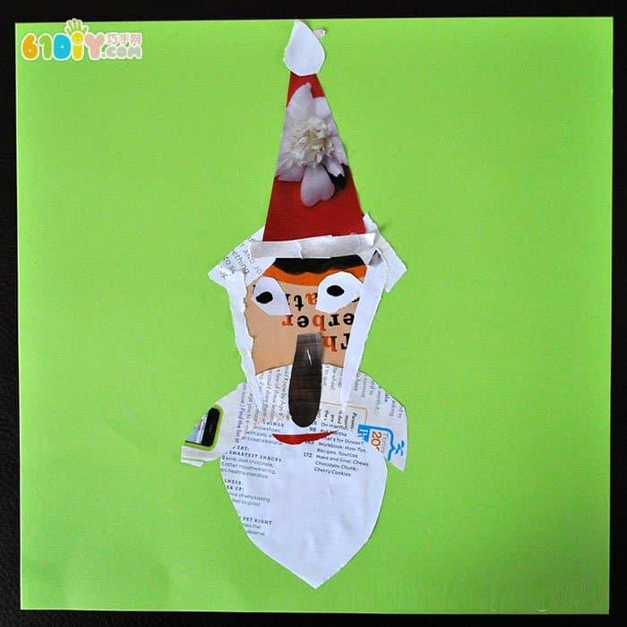 用废纸制作圣诞老人贴画