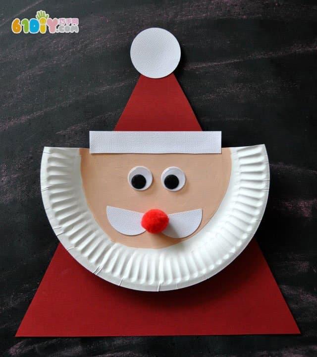 圣诞节手工制作纸盘圣诞老人
