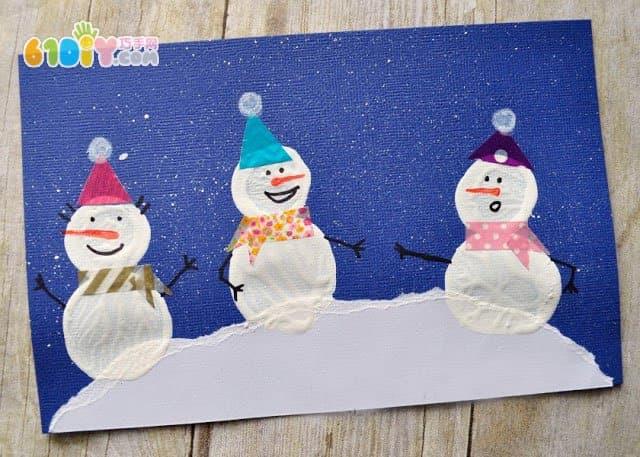 新年儿童手工 漂亮的瓶盖印雪人贺卡图片