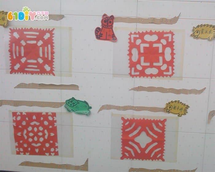 幼儿园作品展示墙 美丽的窗花
