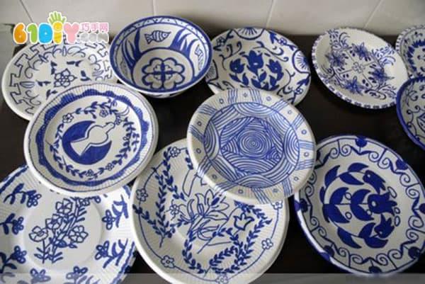 纸碗纸盘青花瓷作品