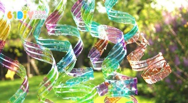 春天手工 矿泉水瓶diy漂亮螺旋挂饰图片