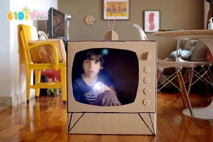 废纸箱DIY制作电视机