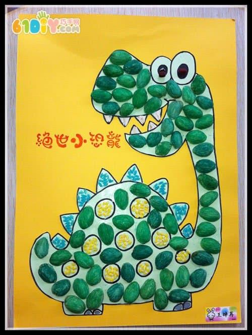 开心果壳恐龙手工贴画