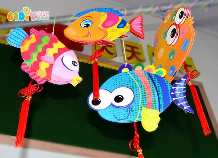 幼儿园小鱼吊饰布置图片