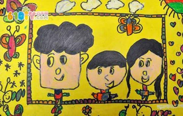 全家福儿童画作品图片