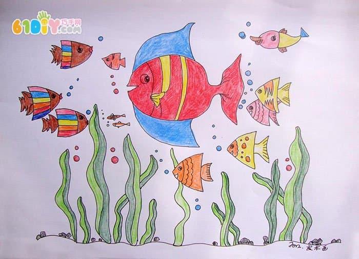 小学生画画图片大全海底世界_100海洋动物简笔画大全