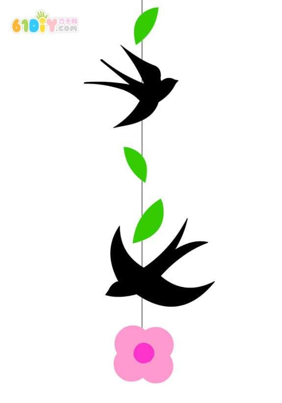 春天手工 燕子枝条花朵挂饰