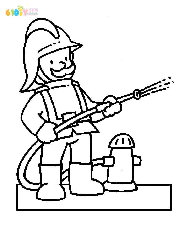 消防员灭火简笔画图片