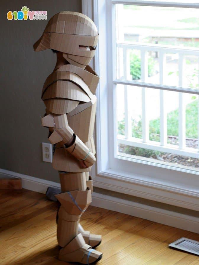 废纸板盔甲作品图和制作过程 纸盒手工 巧巧手幼儿手工网