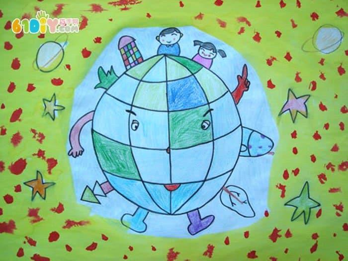 保护地球节约资源儿童画_儿童画作品_巧巧手幼儿手工网图片
