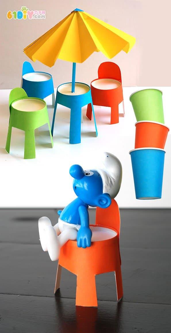 儿童创意手工制作桌椅和沙滩伞