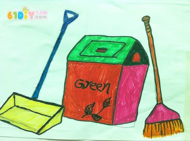 收好垃圾爱护环境儿童画作品