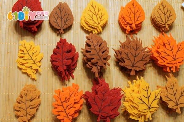 秋天手工制作不织布树叶挂饰