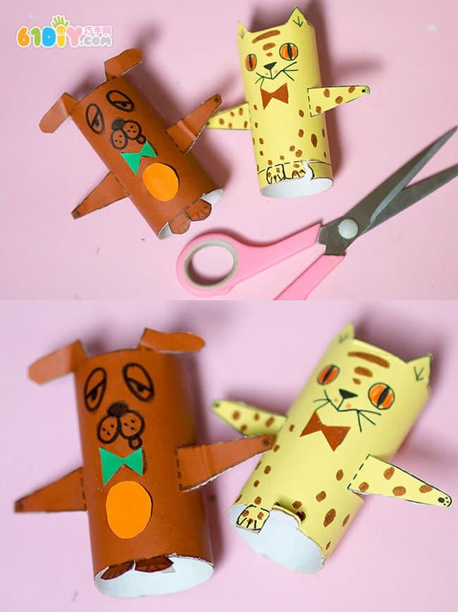 纸盒子小人_儿童手工制作萌萌的纸筒小人和小动物_纸筒手工_巧巧手幼儿手工网