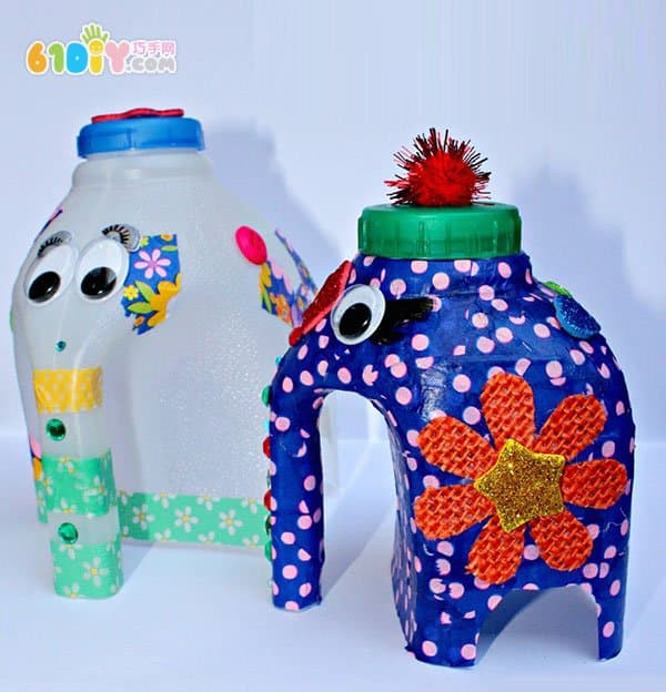 牛奶桶废物利用制作大花象