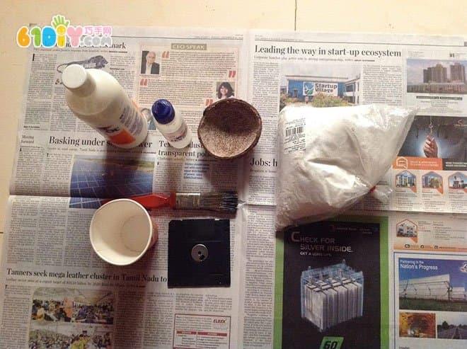儿童废物利用手工制作蘑菇
