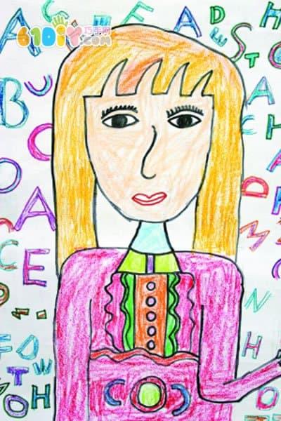 教师节儿童画作品图片_儿童画作品_巧巧手幼儿手工网