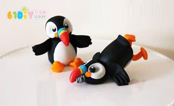 彩泥企鹅步骤图