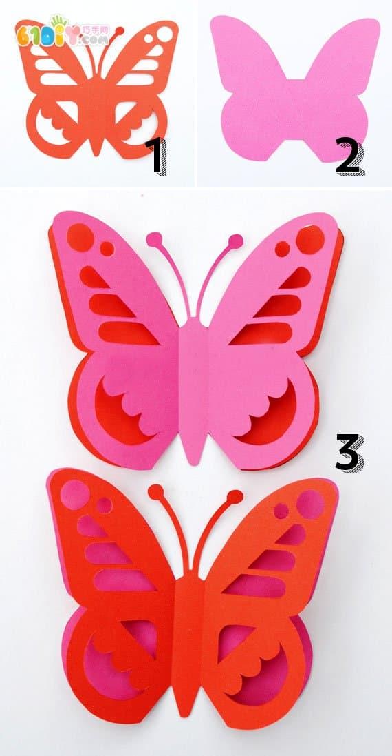 制作漂亮的立体剪纸蝴蝶挂饰_巧手剪纸_巧巧手幼儿
