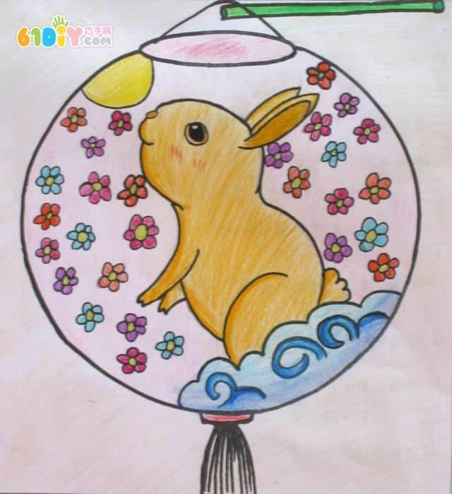 中秋节创意灯笼绘画贴画设计