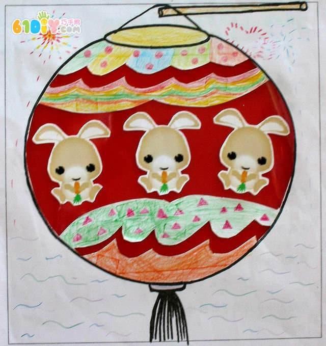 中秋的素描画-中秋节创意灯笼绘画贴画设计图片