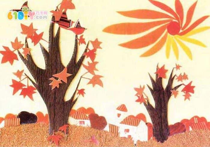 幼儿园秋天关于树的墙饰_秋天_巧巧手幼儿手工网