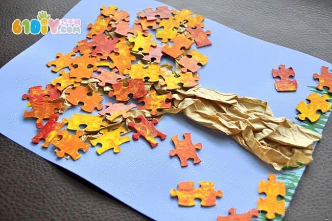 儿童手工 利用拼图制作秋天的树贴画